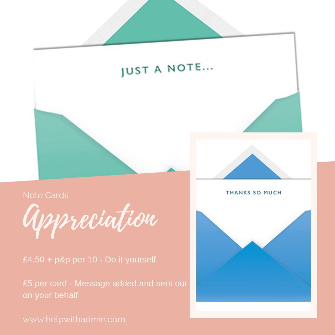 Appreciation note cards